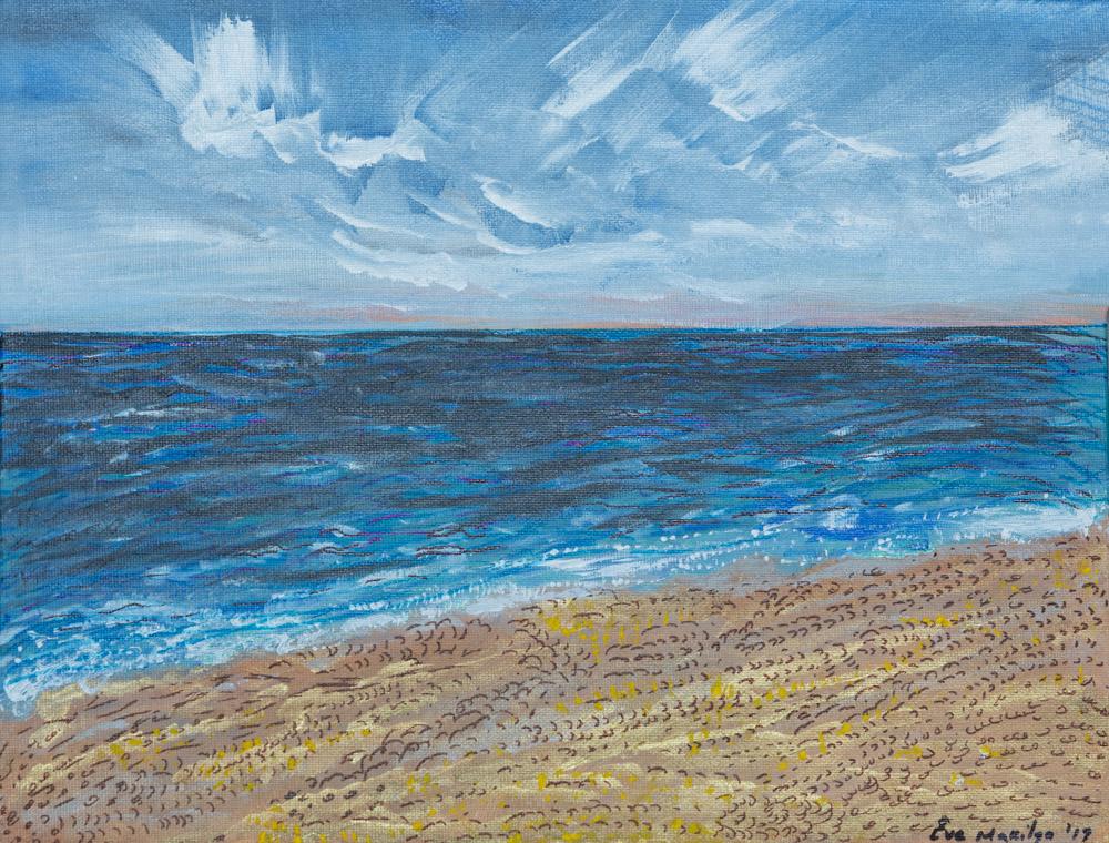 "Walk by the Sea 11""x14 Original Composition 7,500$/ Print 2,350$"
