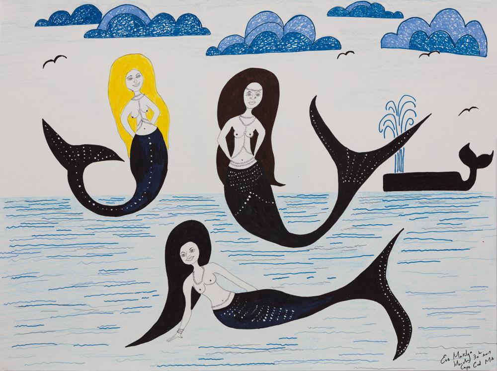 Cape Cod Mermaid Party 18'X24 Original Composition 42,000$/ Print 16,200$